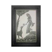 Designer Slate Wall Frame - Shakuntala and Deer (Adaptation - Abhijnanasakuntalam by Kalidasa)