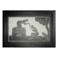 Designer Slate Wall Frame - Lady Serving Drinking Water (Adaptation - Tribal culture of India)