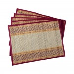 Madur Grass Dining Table Mats (set of 6 - 12x15 in - Maroon & White)