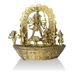 Brass Metal Craft (Dokra) Ma Durga with Family on Board