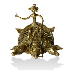 Brass Metal Craft (Dokra) 3 Faced Tortoise with Rider