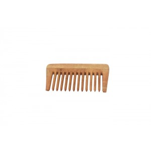 Natural Neem Wood Wide Teeth Comb - Small Size