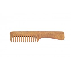Natural Neem Wood Wide Teeth Comb with Handle
