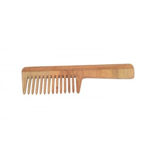 Natural Neem Wood Premium Quality Wide Teeth Comb with Handle