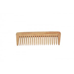 Natural Neem Wood Wide Teeth Comb - Medium Size