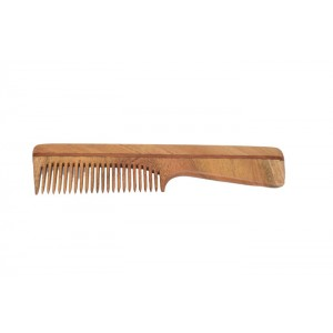 Natural Neem Wood Comb with Handle