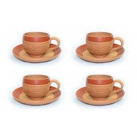 Terracotta Tea Cups & Saucers (Set of 4)