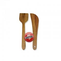 Premium & Natural Wood-made Regular Cooking Spatulas - 2 PCs