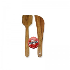 Premium & Natural Wood-made Regular Cooking Spatulas - 2 PCs
