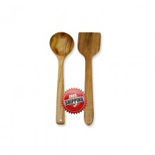 Premium & Natural Wood-made Spatula & Curry Serving Ladle (for regular use) - 2 PCS
