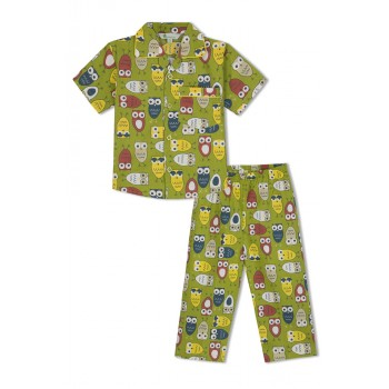 GreenApple Organic Cotton Boy's Nightsuit with Colorful Owls