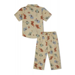 GreenApple Organic Cotton Boy's Nightsuit with Red and Blue Elephants