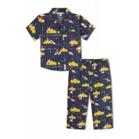 GreenApple Organic Cotton Boy's  Nightsuit with Yellow Clouds and Aeroplanes