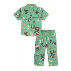 GreenApple Organic Cotton Boy's Nightsuit with Bats, Soccer Ball, Basket Ball
