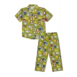 GreenApple Organic Cotton Girl's Nightsuit with Colorful Owls