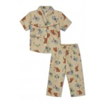 Girl's Nightsuit with Red and Blue Elephants