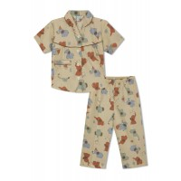 GreenApple Organic Cotton Girl's Nightsuit with Red and Blue Elephants
