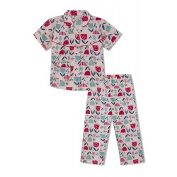 GreenApple Organic Cotton Girl's Nightsuit with Tulip Flowers