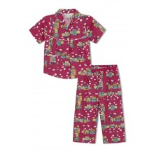 GreenApple Organic Cotton Girl's Nightsuit with Doll Houses