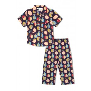 GreenApple Organic Cotton Girl's Nightsuit with Colorful Fruits