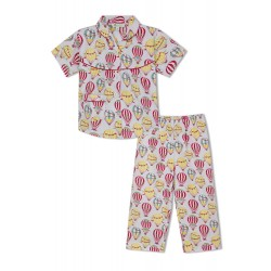 GreenApple Organic Cotton Girl's Nightsuit with Colorful Hot Air Balloons