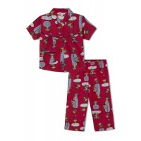 GreenApple Organic Cotton Girl's Nightsuit with Swinging Monkeys
