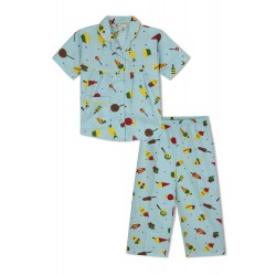 GreenApple Organic Cotton Girl's Nightsuits with Candies and Icecream Cone
