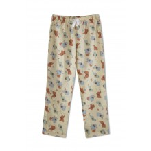 GreenApple Organic Cotton Mom Pyjama Light Brown Color with Red and Blue Elephants