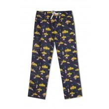 GreenApple Organic Cotton Mom Pyjama Dark Blue with Yellow Clouds and Aeroplanes