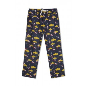 GreenApple Organic Cotton Mom Pyjama Dark Blue with Yellow Clouds and Aeroplanes