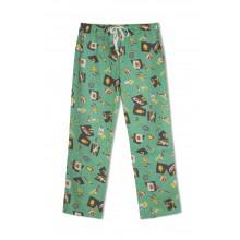 GreenApple Organic Cotton Mom Pyjama Green Color with Bats,Soccer Ball,Basket Ball