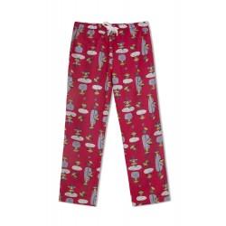 GreenApple Organic Cotton Mom Pyjama Red Color with Swinging Monkeys
