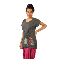 Indricka Dhvani Charcoal Printed Top