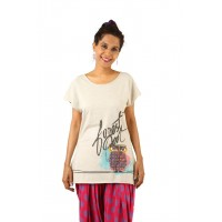Indricka Dhvani Grey Printed Top