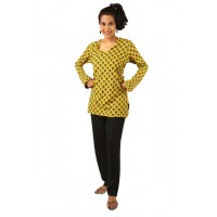 Indricka Dhyana Yellow Printed Top