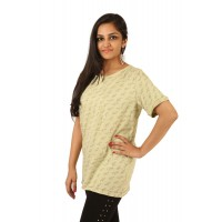 Indricka Lakshya Green Printed Basic T-shirt