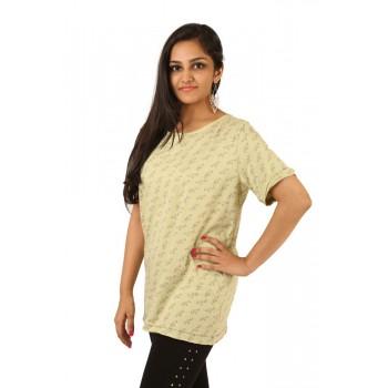 Lakshya Green Printed Basic T-shirt