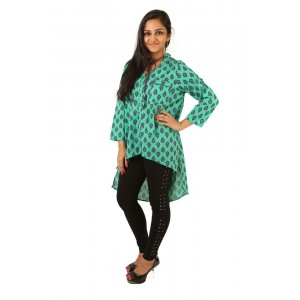 Indricka Tvesha V Neck Top (Green Printed)
