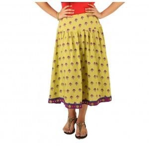 Indricka Lime Green Printed Skirt