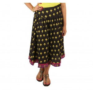 Indricka Black Printed Skirt
