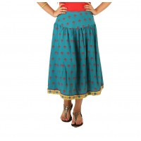 Indricka Teal Printed Skirt