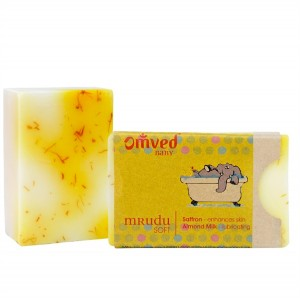 Omved Lifestyle Mrudu Almond Milk Saffron Soap - 125 GMS