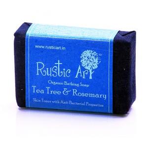 Rustic Art Organic Tea Tree & Rose Mary Soap - 100 GMS
