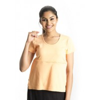 Zeme Organics Nursing Top with Concealed Zipper - Orange