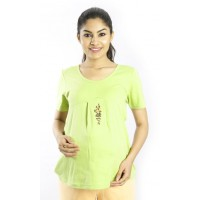 Zeme Organics Maternity Top with Embroidery - Green