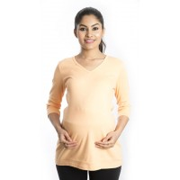 Zeme Organics Maternity Fitted Top - Orange