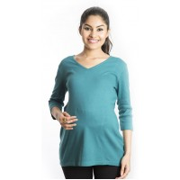 Zeme Organics Maternity Fitted Top - Green