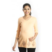 Zeme Organics Maternity Printed Top - Orange