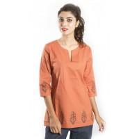 Zeme Organics 3/4th Sleeves Short Kurti - Orange