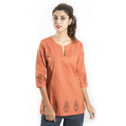 Zeme Organics 3/4th Sleeves Short Kurti - Orange